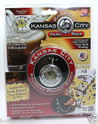 "New Kansas City Railroad Pocket Watch Quartz 26"" Chain & Fob Jesse James Train"