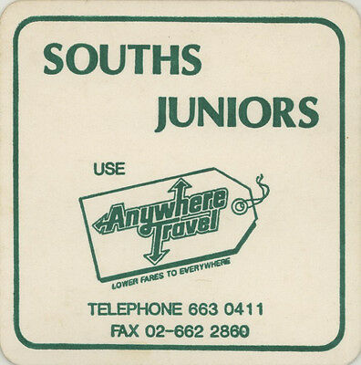 Coaster: Souths Juniors. Anywhere Travel.