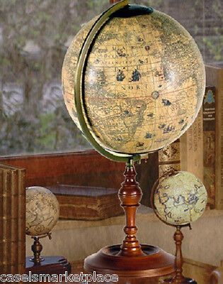 AUTHENTIC MODELS Hondius Globe with Wood Stand Antique Reproduction