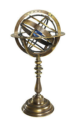AUTHENTIC MODELS Bronze Armillary Dial Globe Sphere Antique Reproduction