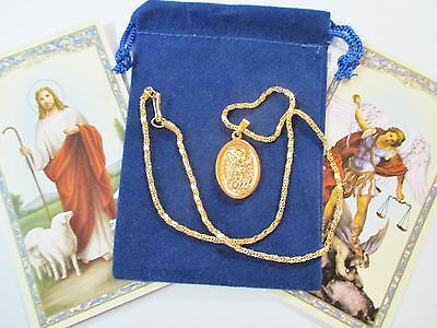 Set of Two Golden Tone St. Michael & Guardian Angel Saint Medals with Necklaces