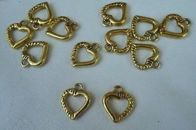 10 Gold Coloured Heart Charms 15x12mm #ch1022 Combine Post-See Listing