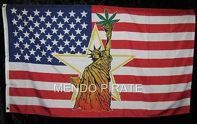 Statue of Liberty with Pot Leaf 3x5 Flag 420 Marijuana FREE SHIPPING
