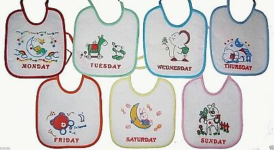 Bibs Newborn Infant Lot of 7 Bibs Days Of The Week Water Proof Baby Boys Girls