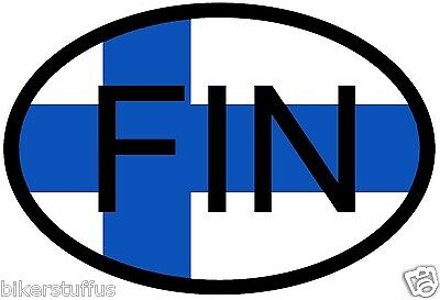 Fin Finland Country Code Oval With Flag Sticker Bumper Sticker Laptop Sticker