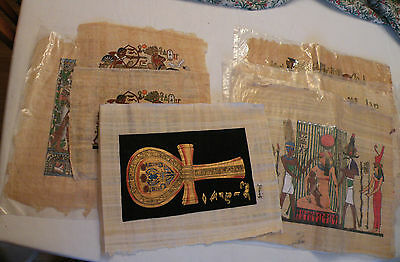 Vintage Egyptian Art on Papyrus Paper, Authentic, Signed, Seven Pieces!!