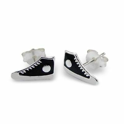 0fcb086882db 925 Sterling Silver Black Baseball Trainers Shoes Stud Earrings - Boxed  Petite