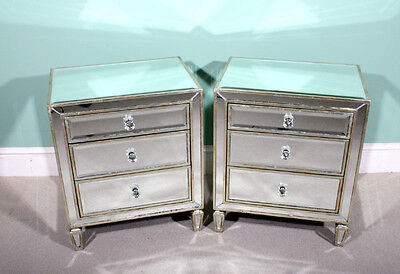 Pair Art Deco Style Mirrored Bedside Tables Chests