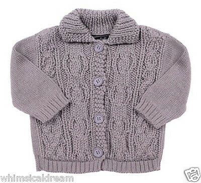 Lili Gaufrette baby girls Sz 3M 000  - 00 thick cable knit cardigan NWT grey
