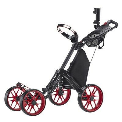 CaddyTek CaddyCruiser ONE v3 Folding 4 Wheel Golf Buggy / Push Cart - Red