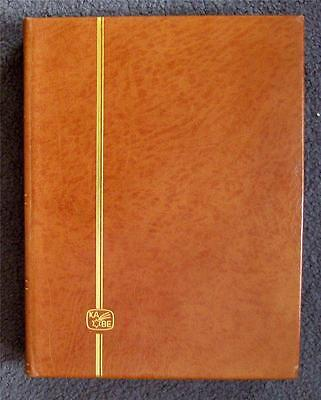 Kabe Luxury  Tan Colour Leather Stamp Stock Album 16 Black Pages/ 32 Sides