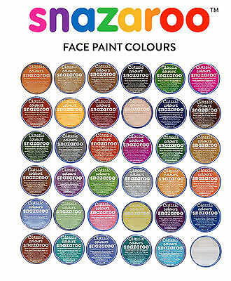 18ml SNAZAROO FACE + BODY PAINTS Stage Makeup ALL CLASSIC COLOURS Fancy Dress