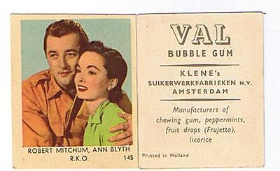 Klene's Val Bubble Gum Movie Star Card N° 145 Robert Mitchum Ann Blyth R.k.o.
