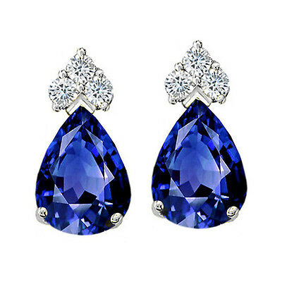 Stunning Pear Shape Blue Sapphire Stud Earrings 14K Solid Yellow Or White Gold