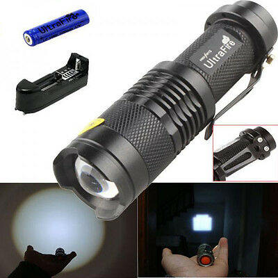 Ultrafire 1500LM CREE Q5 LED Flashlight Focus Torch Light+ 14500 Battery+Charger
