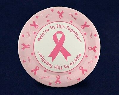 Lot of 20 Pink Ribbon Breast Cancer Awareness Paper Dessert Plates