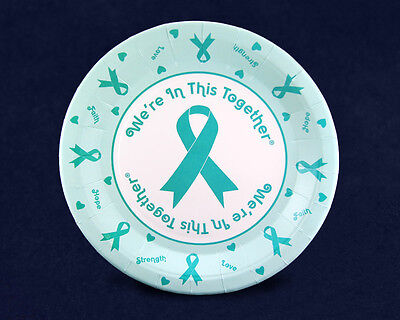 Teal Ribbon Paper Dinner Plates (20 Plates)