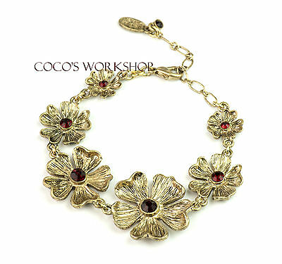 QUALITY VINTAGE GOLD RED STUD FLOWER CLUSTER CHAIN BRACELET WOMENS SUMMER GIFT