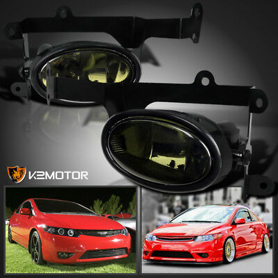 For 2006-2008 Honda Civic 2Dr Coupe Smoke Bumper Driving Fog Lights+Switch