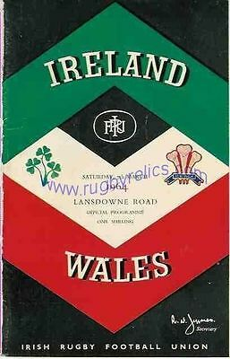 IRELAND v WALES 1964 RUGBY PROGRAMME