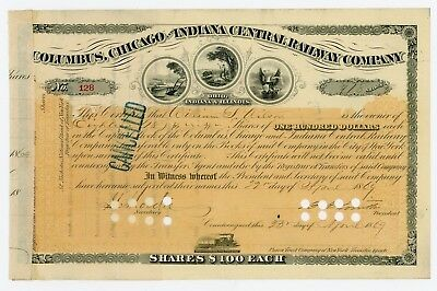 1869 Columbus, Chicago and Indiana Central Railway Co. Stock Certificate