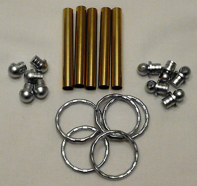 Woodturning Keyring Kits x 5 - Satin Chrome   *****FREE POSTAGE *****
