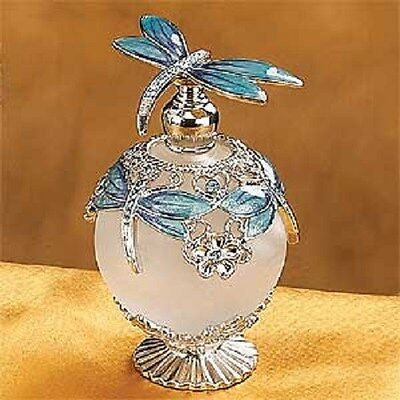 Beautiful Bejeweled Dragonfly Top & Neck Perfume Bottle