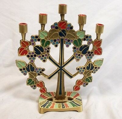 Vtg Enamel Brass Menorah Hanukkah Candle Holder Terra Sancta Guild Tree Grape