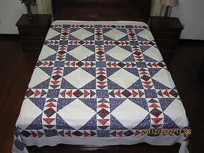 """Flying Geese NEW PATCHWORK QUILT TOP, 90"""" * 90"""", Blue and more, #3c"""