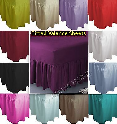 Plain Dyed Polycotton Fitted Valance Sheet Single, Double, King, Super King