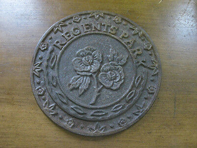 antique REGENTS PARK, London CAST IRON PLAQUE large and heavy MARKER ROSES