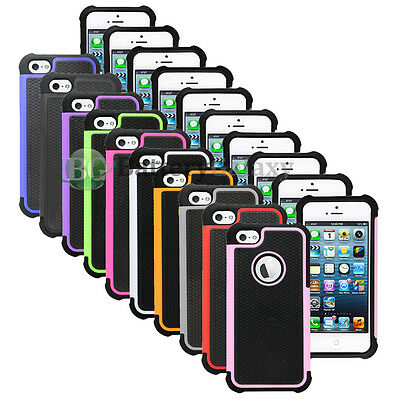 Lot of 10 Hybrid Rugged Rubber Matte Hard Case Cover for Apple iPhone 5 5G 5S