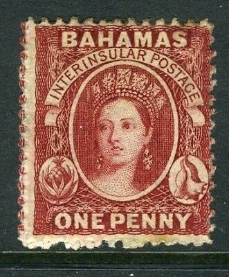 BAHAMAS-1862 1d Lake Fine mounted mint Sg 17