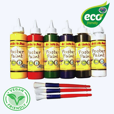 Washable Kids Paint Set Kids Poster Paint Set 6 x 250ml Free 3 x Brushes