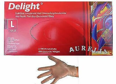 AURELIA Disposable Clear Vinyl Powder & Latex Free Gloves 10 100 200 3000 *CHEAP
