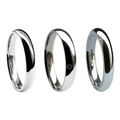 3mm Platinum Wedding Rings Court Comfort UK HM Med. Heavy & Extra Heavy 950 band