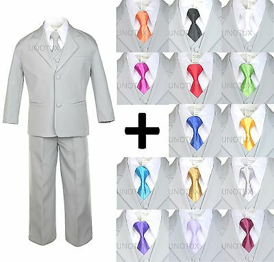 Baby Kid Teen Boy Silver Formal Wedding Party Suit Tuxedo + Color Necktie S-20