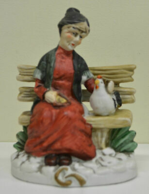 """""""Woman Seated With Chicken"""" Figurine, 170mm Tall, #12 Unknown Maker, estate item"""