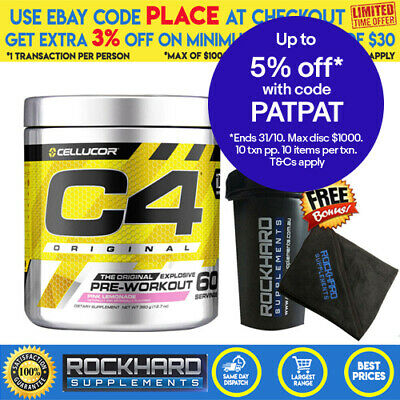Cellucor C4 G4 Extreme 60 Serves Pre Workout + Shaker Energy Focus Pumps