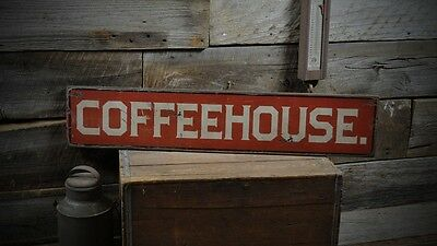 Coffeehouse Old Style Sign -Primitive Rustic Hand Made Vintage Wooden ENS1000275