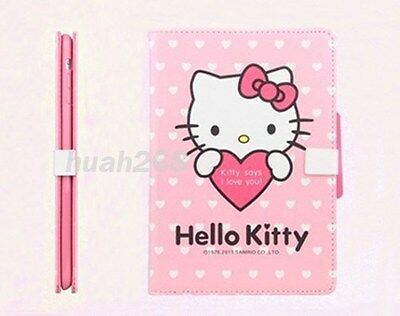 Hellokitty Cute Smart Cover Flip Leather Heart Stand Folio Case for iPad Mini
