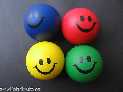 4 x Happy Smiley Face Stress Relief Foam Squeeze Fun Balls