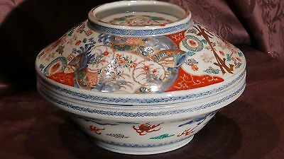 ANTIQUE 19c JAPANESE MEIJI LARGE  PORCELAIN COVERED BOWL WITH CRAINS,FANS