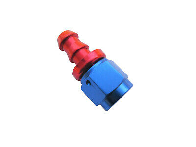 AN6 BLACK Straight Hose Swivel Fitting PUSH ON BARB (Dash -6 AN)
