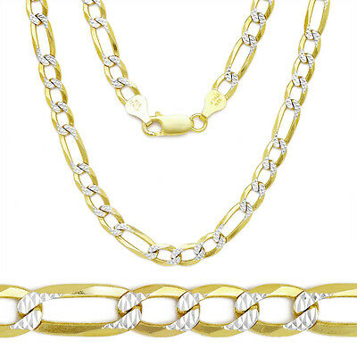 3.2mm 14k Yellow Gold Sterling Silver Figaro Link Italian Chain Necklace