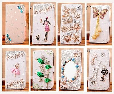 Deluxe 3D Bling Diamond White Wallet Stand Leather Hard Case Cover For LG phone
