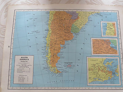 1944  VINTAGE  MAP  EUROPE in 1938 / SOUTH AMERICA South