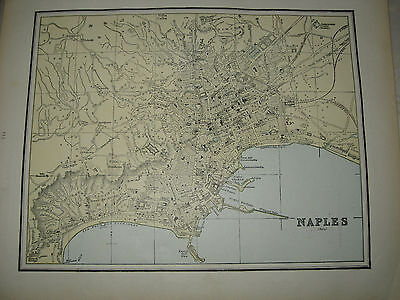 1888 Antique City Map Constantinople / Naples