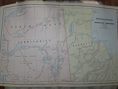1888 LARGE Original MAP CANADA North West Territories, Keewatin, Athabaska