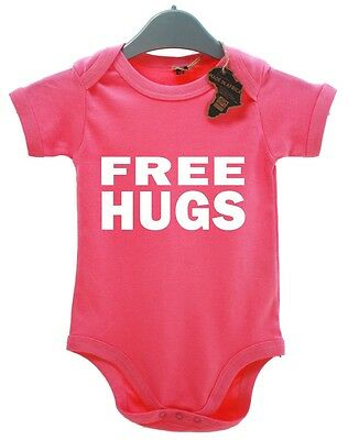 Free Hugs BabyGrow Present Funny Playsuit Newborn Baby Grow  Funky Cool Fun Kid